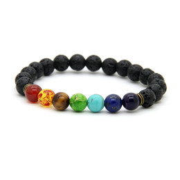 stone chains 2019 - Wholesale Best Quality Black Lava Stone Beads with Sediment, tiger eye stone Stretch women & Mens Energy Yoga Gift Brace