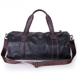 Wholesale-2016 3 Colors Men Large Leather Duffle Gym Travel Bags Luggage Handbag Shoulder Bag High-capacity Cylinder Casual Wholesale