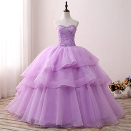 Robe Sweetheart Sweet Sweet Sweetheart Pas Cher-2017 Images réelles Magnifiques cristaux violets Robes de quinceanera Sweethearts Organza Sweetheart Ball Gown Sweet 16 Robes SQ001