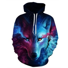 Barato Hoodies De Pulôver Gráfico Para Homens-Venda por atacado - 6XL New Design Galaxy Space Wolf 3D Hoodies Sweatshirt Men Women Hooded Sweats Tops Hip Hop Unisex Graphic Pullover