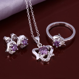 $enCountryForm.capitalKeyWord Australia - High grade 925 sterling silver Rose three-piece - Purple jewelry sets DFMSS651 brand new Factory direct sale wedding 925 silver
