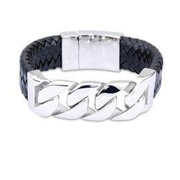 $enCountryForm.capitalKeyWord Canada - Hot Sale 24mm Wide Real Leather Bracelet&Bangle Bike Cycle Chain Bracelets Stainless Steel Bangles Wristband Men Male Fashion Jewelry