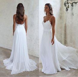 Sexy Spaghetti-Trägern Beach Wedding Dress Günstige Lange Chiffon Brautkleider Backless Spitze Appliqued Mantel Brautkleider