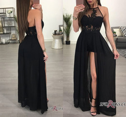 6a85033c21 Sexy largo negro vestidos de baile 2018 ver a través del cabestro frente  partido partido de noche vestido de encaje apliques de gasa piso de  longitud A Line ...