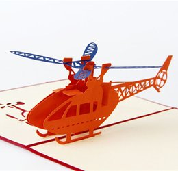 Chinese  hot Handmade 3D Post Cards Airplane Helicopter Pop up cards Custom Cubic Greeting cards Business Gifts Free shipping manufacturers