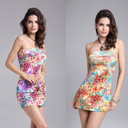 Sexy Blue Clothes For Women Canada - Dresses women clothes summer ladies casual floral maxi bodycon dresses for women beach dress sexy chest wrapped club dress seaside resort