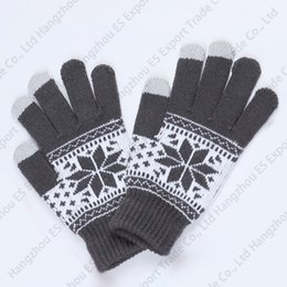 Discount army gloves - Winter Touch Screen Gloves Snowflake Knitted Five Finger Gloves Unisex Style 5 Colors Soft And Warm