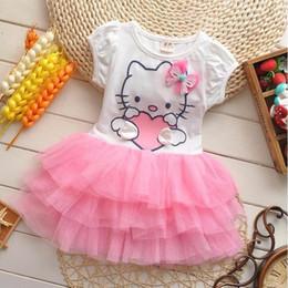 $enCountryForm.capitalKeyWord Canada - Girls Hello Kitty Tutu Dress Kids Summer Cartoon TUTU Layered Dresses Princess Short Sleeve Panelled Dress Children Cotton Tiered Dresss