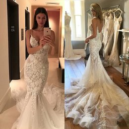 Zuhair Murad Mermaid Wedding Dresses NZ - Zuhair Murad 2018 Mermaid Wedding Dresses Court Train Lace Appliqued Backless Bridal Gowns Sexy Spaghetti Neckline Wedding Dress