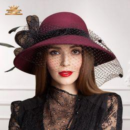Women Dress Hat Satin Dress Hat Fashion Dress Church Hat Ladies  100%  Polyester Hats For Women Big Brim Navy New Arrival c3f6152c672