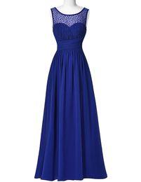 $enCountryForm.capitalKeyWord UK - Scoop Neck Beaded Long Chiffon Bridesmaid Dress 2016 Sleeveless V-Back Evening Dress Strazz Ruched Wedding Party Dress