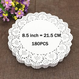 "decorative table mats NZ - Wholesale- 180PCS 8.5"" Round Lace Paper Doilies Plates Mats Coasters Placemats Wedding Events Party Table Gift Bag Decorative Accessories"