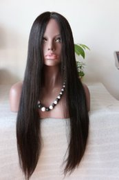X Long Hair Canada - Hot Wire Based 5.5 x 5.5 people Hair Straight Silky Cordon Glueless Wig Virgin European Silk Top full Lace Wig With Natural Color Rayita
