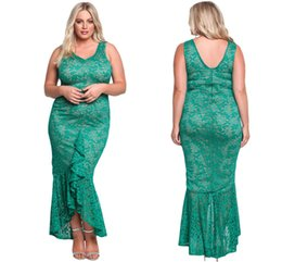 Robes D'hiver Femmes Bon Marché Pas Cher-Plus Size Vintage Lace Mermaid Prom Party Robes 2017 Winter Autumn High Low Grande taille Femmes Green Occasion Lace Robe Cheap