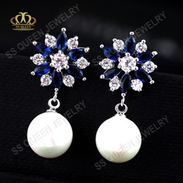 $enCountryForm.capitalKeyWord Australia - 3 layers real 18k white gold  rose plated Stylish combined high grade blue corundum and white CZ pearl dangle earring
