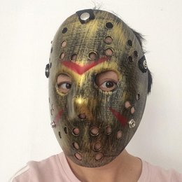 Discount freddy jason mask HOT Style Jason Mask Antique Gold Full Face Party Masks Jason Voorhees Freddy Hockey Festival Halloween Masquerade Maska