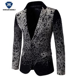 Hommes Blazer À Bas Prix Pas Cher-Wholesale- Fashion Blazer 2017 Slim Fit Luxury Blazer Men Suit Jacket Party Floral Blazer Casual Stage Wear Robe de mariée pas cher 5XL
