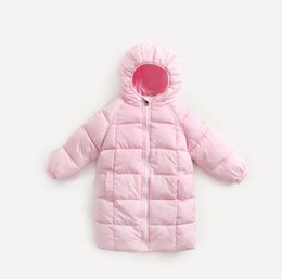 Manteaux Pour Bébés Pas Cher-New Winter Baby Girls Boys Down Jacket Coat Enfants à capuche Mid-long Tops Outwear Warm Coat Enfants Wadded Vestes Manteaux 13462