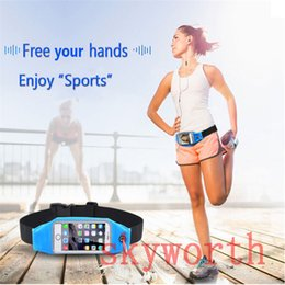 Wholesale Sport Running Waistband For iphone S plus Waterproof Waist Belt Pouch Bag Samsung Galaxy s5 s6 S7 edge Plus Touch Window Earphone