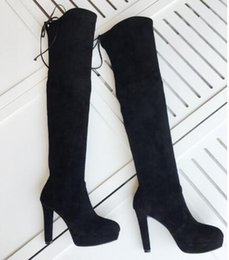 $enCountryForm.capitalKeyWord Canada - Newest Suede Leather Platform Over the Knee Boots Fashion Chunk High Heel Knight Boots Black Women Long Boots Wine Gray