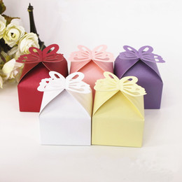 cake style candy boxes Canada - 6*6*6cm Butterfly Style Favor Gift Paper Candy Cake Boxes For Wedding Party Baby Shower DHL Free Shipping