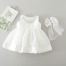 Wedding Dresses Sundress Style NZ - Retail 2016 New Baby Girl Wedding Dresses Bow Birthday Dress Puffy Party Sundress Baby Clothing 0-2T 8022BB
