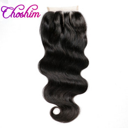 $enCountryForm.capitalKeyWord Australia - Choshim KL Middle Part Body Wave Lace Closure Human Hair Natural Color Brazilian Remy Hair Closure Bleached Knots With Baby Hair