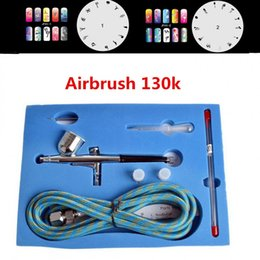 dual action spray gun NZ - 7cc Dual-Action Gravity Airbrush Set 130K Spray Gun Nail Art Painting Pen Kit Set with 2 Nails templates