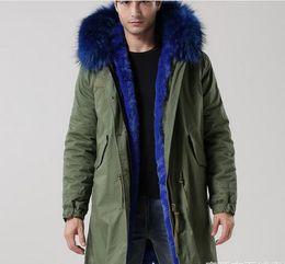 Wholesale long black fur rabbit coat men resale online - Long style meifeng brand men jackets Winter Men snow coats blue rabbit fur lining army green canvas long parkas Lavish fur