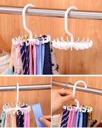 White Muffler Canada - 200pcs Hot Space-saving 360-Rotation Tie Hanging Scarf Belt White Plastic Necktie Rack Muffler Hanger Storage Hook, dandys
