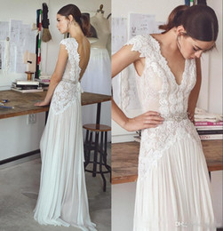 Barato Vestido De Noiva De Praia Sem Costas-Bohemian Vintage A Line Lace Vestidos de casamento Sexy V Neck Backless Beads Sashes Chiffon Lace Applique Pleats Beach Country WEdding Vestidos