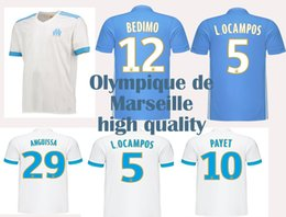 New Olympique de Marseille home white Soccer Jersey 17 18 away blue shirt  2018 customized#19 Gustavo #10 payet #23 Rami