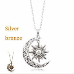 vintage crescent moon pendant NZ - 10pcs New Vintage Sun Moon Pendant Necklace Silver Crescent Moon Chain Necklaces for Women Jewelry Gift
