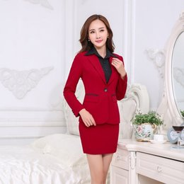 Jupe Élégante Pas Cher-Grossiste-Formal Blazer Rouge Femmes Costumes d'affaires avec jupe et veste Ensembles Elegant Ladies Office Costumes Usage de travail Uniformes Style OL