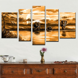 China Multi piece combination 4 pcs set 100%hand-painted Modern Oil Painting On Canvas African elephant animal abstract on the wall suppliers
