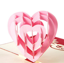 Teacher Paper Canada - Fashion 3D Pop Up Foldable Greeting Cards Creative Handmade Heart Shape Paper Cuts Valentines Teachers Thank You Mother's Day