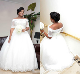 Balls Falls Weddings NZ - Vintage Beaded Plus Size Lace Ball Gown Wedding Dresses with Illusion Short Sleeve Sequins Tulle Bridal Gowns 2017 Fall