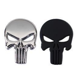 Wholesale Punk 3D Skull Car Front Sides Rear Decorations metal Badge Emblem for Univesal Car Silver 10pcs Lot Free shipping