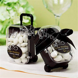 $enCountryForm.capitalKeyWord NZ - FREE SHIPPING 12PCS Acrylic Clear Mini Rolling Travel Suitcase Candy Box Baby Shower Wedding Favors Party Table Decoration Supplies Gifts