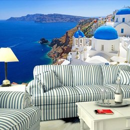 Wholesale  Great Wall 3d Large Mediterranean Sea Style Landscape Wallpaper Wall  Murals For Sofa Tv Background,papel De Parede Paisagem Part 64