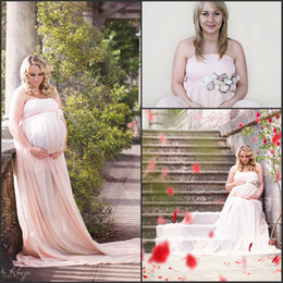 351bf20a972 Pregnant Women Baby Shower Dresses 2018 Strapless A Line Plus Size Summer  Chiffon Formal Long Evening Dresses with Hand Made Flower