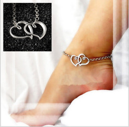 leg chain girl Canada - 2016 Double heart sexy anklet Bracelets on the leg girl love foot Bracelet silver chain ankle jewelry foot accessories