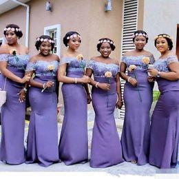 ArAbic girls dress dubAi online shopping - 2019 South African Black Girl Arabic Dubai Mermaid Bridesmaid Dresses Off Shoulder Lace Applique Floor Length Wedding Guest Dresses
