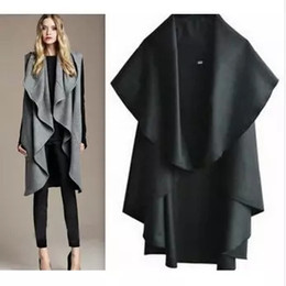 Trench De Femme Décontracté Pas Cher-2016 New Winter Long Coats Cape For Women Casual sans manches Plus Size Black Woolen Jacket Vest trench Coats Overcoat Outerwear Vêtements
