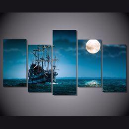Art Canvas Prints Australia - 5 Pcs Set Framed Printed fantasy ship boat art ocean sea Painting Canvas Print room decor print poster picture canvas Free shipping NY-5781