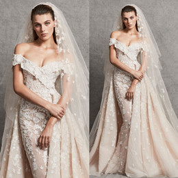 Zuhair Murad Mermaid Wedding Dresses NZ - 2018 Zuhair Murad Mermaid Overskirt Wedding Dresses Off The Shoulder Lace Bridal Gowns Appliqued Trumpet Plus Size Vestidos De Nnovia