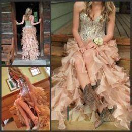 $enCountryForm.capitalKeyWord Canada - Hi-Lo pink 2016 Prom Dresses with Corset Bodice Sweetheart Dresses Sexy High Low Party Prom Dresses with Crystals Rhinestones Beading