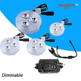 puck spotlight Canada - NEW RF control dimmable 4pcs DC 12v 3W LED Puck Cabinet Light,LED spotlight+35cm connect wire +12v 96w RF led dimmer(none power)