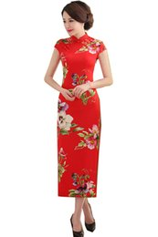 Robe Longue Femme Couleur Rouge Pas Cher-Shanghai Story Robe chinoise chinoise traditionnelle Robes longue Qipao Vêtements traditionnels chinois Tang Suit Robe femme Cheongsam 4 Coloris