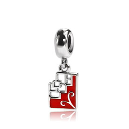 Bracelet sliders online shopping - Celaenodesigns Sterling Silver Pendant Charms Window Flower Dangle with Red Enamel Fits European Jewelry Bracelets Necklaces OMP016